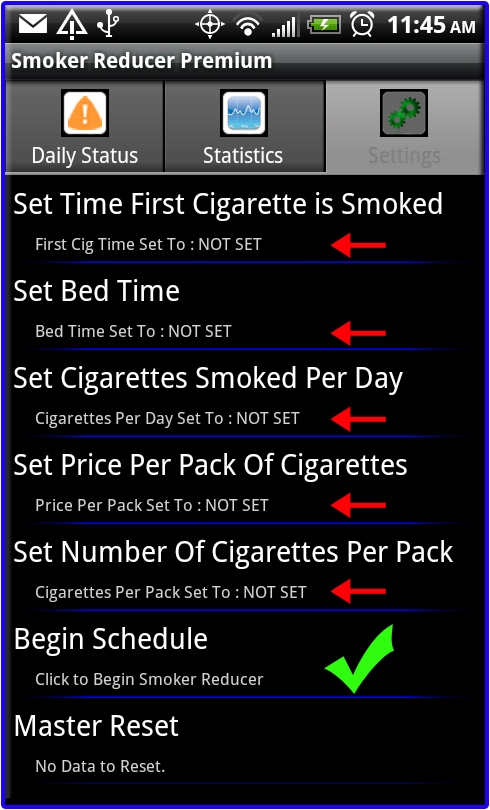 Smoker Reducer Settings Tab