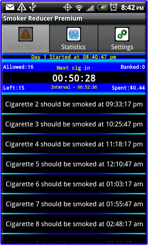 Smoker Reducer Daily Status Tab Running